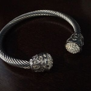 Jewelry - Designer Inspired Cable Bracelet with Pave